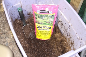 Dipel Dust mixed in potting soil, ready for seedlings.
